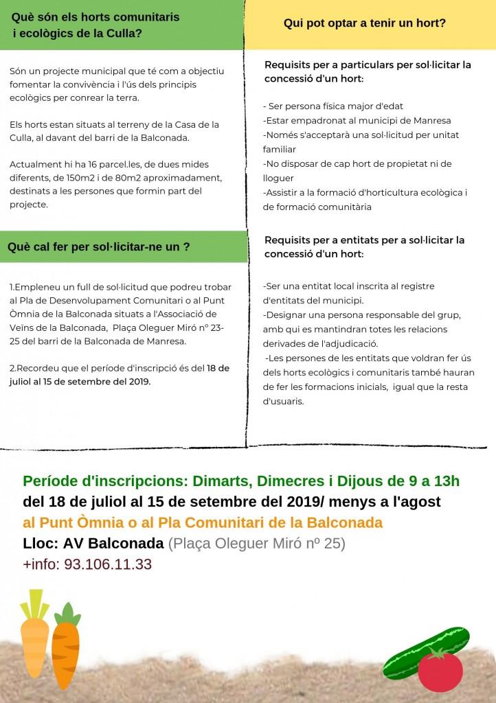 APUNTA'T ALS HORTS COMUNITARIS DE LA CULLA