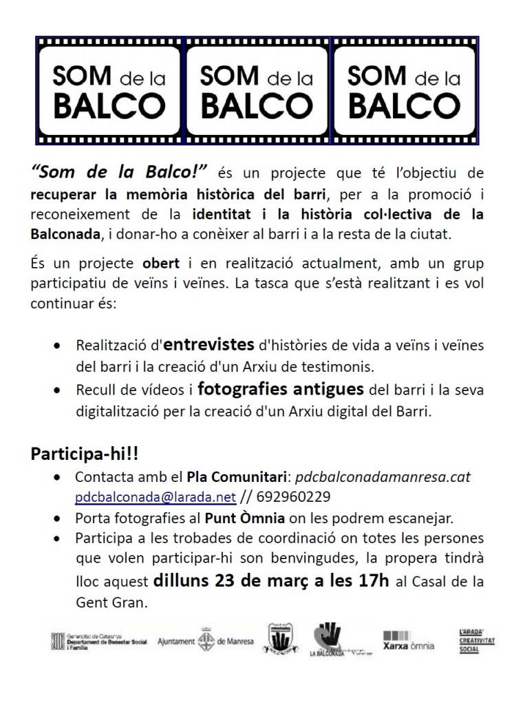 """Dilluns 23 de març, nova trobada """"Som de la Balco!"""""""